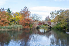 Gapstow bridge in a colorfull fall morning Royalty Free Stock Image
