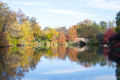 Gapstow bridge in a colorfull fall morning Stock Photo
