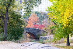 Gapstow bridge in a colorfull fall morning Royalty Free Stock Photo