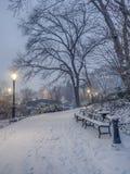 Gapstow mosta central park, Miasto Nowy Jork przy nocą Obraz Royalty Free