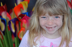 Gaptooth Grin!. Adorable grinning little girl missing teeth Royalty Free Stock Photography