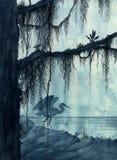 Garça-real no pântano ilustração royalty free
