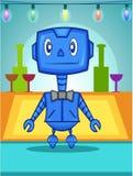 Garçom azul Robot ilustração royalty free