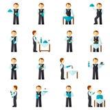 Garçom Man Icon Flat Fotografia de Stock