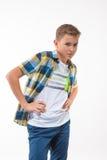Garçon émotif dans une chemise de plaid Photo libre de droits