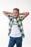 Garçon émotif dans une chemise de plaid Photos libres de droits