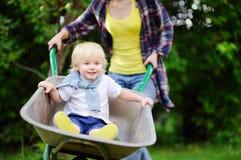 Garçon adorable d'enfant en bas âge ayant l'amusement dans une brouette poussant par la maman dans le jardin domestique Image libre de droits