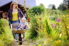 Garçon adorable d'enfant en bas âge ayant l'amusement dans une brouette poussant par la maman dans le jardin domestique, le jour  Photo libre de droits