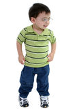Garçon adorable d'enfant en bas âge en glaces au-dessus de blanc Image libre de droits