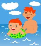 Garçon apprenant à nager Images libres de droits
