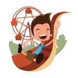 Garçon au personnage de dessin animé d'illustration de Luna Park Illustration Libre de Droits