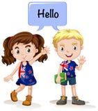 Garçon australien et fille disant le bonjour illustration stock