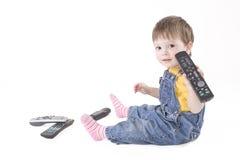 Garçon avec à télécommande Images libres de droits