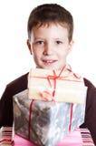 Garçon avec des cadeaux Image libre de droits
