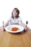 Garçon avec des spaghetti Photographie stock