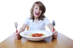 Garçon avec des spaghetti Photographie stock libre de droits