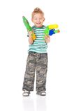 Garçon avec l'arme à feu d'eau Photographie stock libre de droits