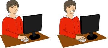 Garçon avec l'ordinateur illustration de vecteur