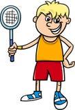 Garçon avec la bande dessinée de raquette de tennis illustration libre de droits
