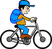 Garçon avec la bicyclette Images libres de droits