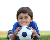 Garçon avec la bille de football Images libres de droits