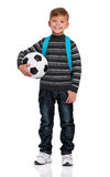 Garçon avec la bille de football Image stock