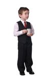 Garçon avec la cuvette de café Photo libre de droits