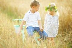 Garçon avec la fille dans le domaine de blé Images stock