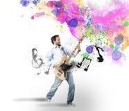 Garçon avec la guitare basse illustration de vecteur