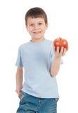 Garçon avec la pomme sur le blanc Photos libres de droits