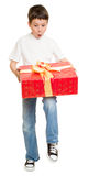 Garçon avec le cadre de cadeau Image libre de droits
