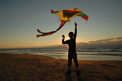 Garçon avec le cerf-volant photo libre de droits