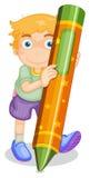 Garçon avec le crayon illustration de vecteur