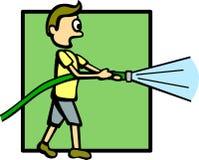 Garçon avec un boyau de l'eau illustration libre de droits