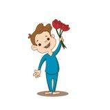 Garçon avec une fleur Images stock