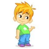 Garçon blond mignon ondulant et souriant Illustration de bande dessinée de vecteur d'une présentation de garçon illustration libre de droits