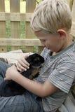 Garçon caressant avec le lapin d'animal familier Photographie stock libre de droits
