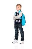 Garçon d'école avec le sac à dos Photographie stock libre de droits