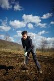 Garçon d'adolescent avec des pommes de terre d'un encemencement de houe Photo libre de droits