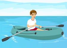 Garçon d'adolescent dans le canot en caoutchouc illustration libre de droits