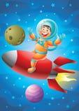 Garçon d'astronaute montant le bateau rouge de fusée, fond d'espace extra-atmosphérique illustration de vecteur