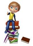 Garçon d'enfant avec la pile de livre Images stock