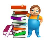 Garçon d'enfant avec la pile de livre Photos libres de droits