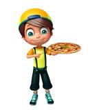 Garçon d'enfant avec la pizza Images stock
