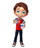 Garçon d'enfant avec le coke Photographie stock