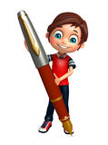 Garçon d'enfant avec le stylo Image libre de droits