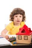 Garçon d'enfant en bas âge au jardin d'enfants Images libres de droits