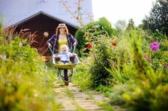 Garçon d'enfant en bas âge ayant l'amusement dans une brouette poussant par la maman dans le jardin domestique Photographie stock