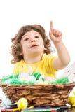 Garçon d'enfant en bas âge indiquant la copie Photo libre de droits