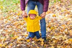 Garçon d'enfant en bas âge tenant des mains avec le père de hir dehors un jour d'automne Photo stock